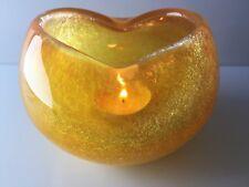 "ART DECO ""VEIL-GLASS"" CRACKLE ORANGE KARCAG HUNGARY GLASS CANDLE HOLDER 1960-80s"