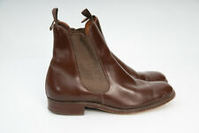 Knightly Gold Shield Vintage Leather Ankle Chelsea Boots Made in England Sz UK 5