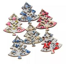 20 x Christmas Tree Craft Wooden Button Embellishments 30x27mm