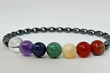 "Beautiful Handmade Hematite & Genuine Gemstone CHAKRA Stretch 7.5"" Bracelet"
