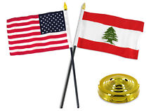"Lebanon w/ USA American Flag 4""x6"" Desk Set Table Stick Gold Base"