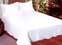 King Quilt Bedspread Hotel Style Contemporary Solid White Matelasse Coverlet Set