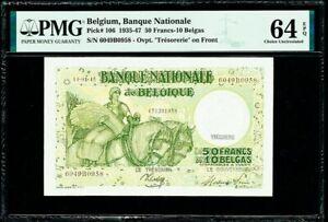Belgium 50 Francs - 10 Belgas 11.01.1945 Pick-106 Choice UNC PMG 64 EPQ
