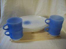 8 pc Set Vintage Fire King Anchor Hocking Milk Glass Oval Plates & Blue Mugs HTF