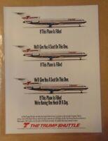 Vintage 1990 DONALD TRUMP AIRLINE Shuttle Original Print Ad Advertising