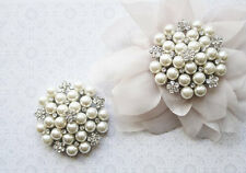 UK CLARICE Diamante Silver Shoe Clips Soft Ivory Pearl Flower Bridal Rhinestone