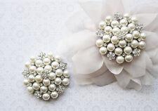 Clarice-Diamante Plata Perla Flor Nupcial Diamante de Imitación Zapatos Clips Un Par