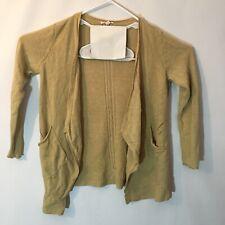 Eileen Fisher Size XS Cardigan Waterfall Front Pockets Yellow Mustard 100% Linen