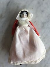Vintage Antique China Porcelain Head 7� Doll Small Red Dress Apron Bonnet