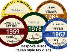 Replica / Reproduction Vintage Italian Tax Disc Ducati, Moto Guzzi Bespoke Stamp