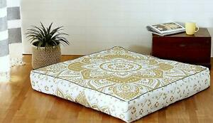 """Mandala Ottoman Indian Square 35"""" Seating Cover Pouf Cushion Floor Pillow Case"""