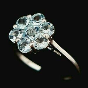 Ladies 925 Sterling Silver Sky Blue Topaz Flower Floral Cluster Ring Size O