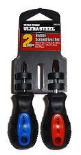 "Stubby Screwdriver 2-Piece Set Ultra Tough Ultra Steel Flat Phillips 3 7/8"" 1203"