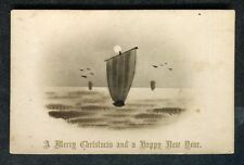 Dated 1904: Illustrated Christmas Card: Sailing Boats: Happy New Year