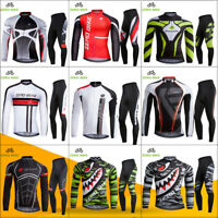 Mens Bike Riding Clothing Long Sleeves Cycling Jersey Suits Tights Pants