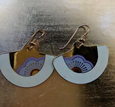 Laurel Burch Fan Shaped Dangle Earrings Pierced Cloisonne Gold Tone Purple White