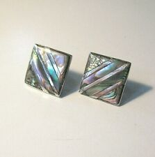 Diagonal Inlaid Abalone Button Earrings Vtg. Mexican Sterling Silver Square
