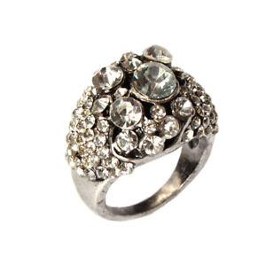 Edelstahl Ring mit Strass Modeschmuck Gr. 52 = 16,5 mm Silber