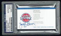 Jeff Bower signed autograph auto Detroit Pistons GM Business Card PSA Slabbed