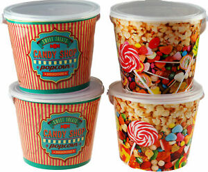 SET OF 4 REUSABLE CONFECTIONARY /  POPCORN BUCKETS WITH HANDLE AND CLEAR LIDS