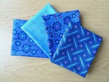 4 FAT QUARTER BUNDLE 100% COTTON PATCHWORK CRAFT FABRIC ~ MAKOTI BLUE
