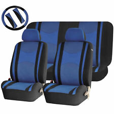 BLUE & BLACK MESH NET SEAT COVERS AIRBAG READY SPLIT BENCH 9PC SET FOR CARS 1443