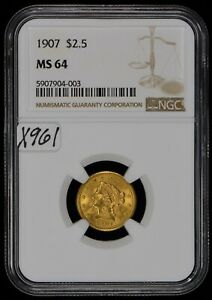 1907 G$2.50 Liberty Head Gold Quarter Eagle - Strong Luster - NGC MS 64 - X961