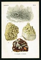 1911 Carbonates: Aragonite, Cerussite, Rocks & Minerals, Antique Print - Spencer