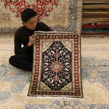 Yilong 2'x3' Small Hand-knotted Porch Carpet Floral Handmade Silk Area Rug 811B