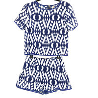 Andree by Unit Women's Size Small 2-Piece Top & Shorts Blue White Dressy Summer