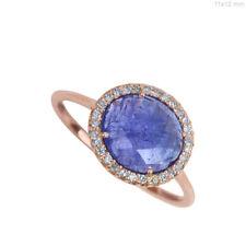 14k Rose Gold Genuine 4.32 Ct Tanzanite Gemstone Diamond Ring Handmade Jewelry