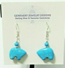 Sterling Silver Carved Natural SW TURQUOISE Bear Dangle Earrings...Handmade USA
