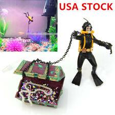 Air Action Diver Hunter Treasure Chest Ornament for Aquarium Fish Tank Decor Us