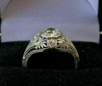 Victorian, Edwardian Engagement Antique Ring 14k White Gold Over 2.1 Ct Diamond