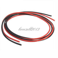 NEW Black Red 14 AWG Gauge Wire Flexible Silicone Stranded Copper Cables For RC