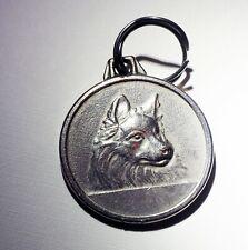 Vintage silver tone medal dog Samoyed Keeshond Spitz Eskie Pendant Eskimo dog
