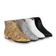 Women's Diamante Cuban Heel Shoes Zip-Up Ankle Boots Glitter Pointed Toe Booties