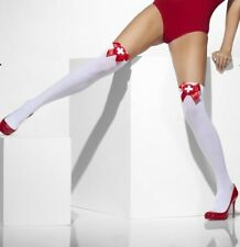 Ladies Sexy Nurse Fancy Dress Stockings Hold Ups White with Red Bows by Smiffys