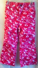 Faded Glory Girl's Pants Size 5T Red, Pink, White Hearts, Butterflies, Flowers