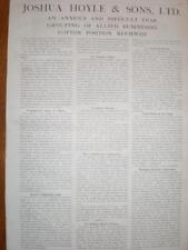 Joshua Hoyle & Sons cotton advert/AGM report 1921