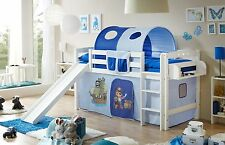 Lit mezzanine avec toboggan THEO R Hêtre massif teinté blanc tissus Pirate Bleu