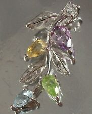 925 STERLING SILVER Amethyst Citrine Peridot Topaz and CZ Floral CHARM PENDANT