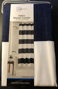 Navy Blue and White Thick Horizontal Striped Coastal Fabric Shower Curtain