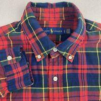 Ralph Lauren Button Up Shirt Mens L Orange Blue Yellow Long Sleeve Cotton Plaid