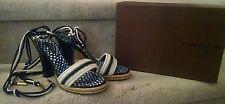 Louis Vuitton Navy Patent HH Platform Strappy Sandal, Size 36.5