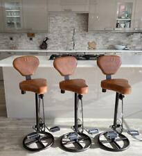 Bicycle Pedal Leather Saddle Stool & Back Breakfast Bar Kitchen Man Cave Retro