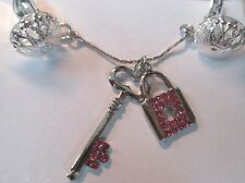 Body Jewelry No pierce Lock and Key with Pink Rhinestone crystals USA Intimate