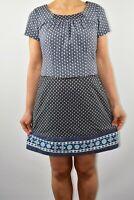 Pepperberry Floral Grey Dress Aline Cotton Summer Wedding Guest Curvy Size 10 AV