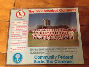 "VINTAGE 1979 CALENDAR ST. LOUIS CARDINALS PHOTO SGA 11 X 14"" COMMUNITY FEDERAL"