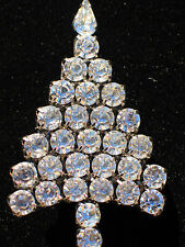 Signed Anthony Attruia Clear Rhinestone Christmas Tree Pin Brooch Jewelry 2.50""